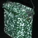 French  Green &  White Graniteware Enamel Lunchbox Pail