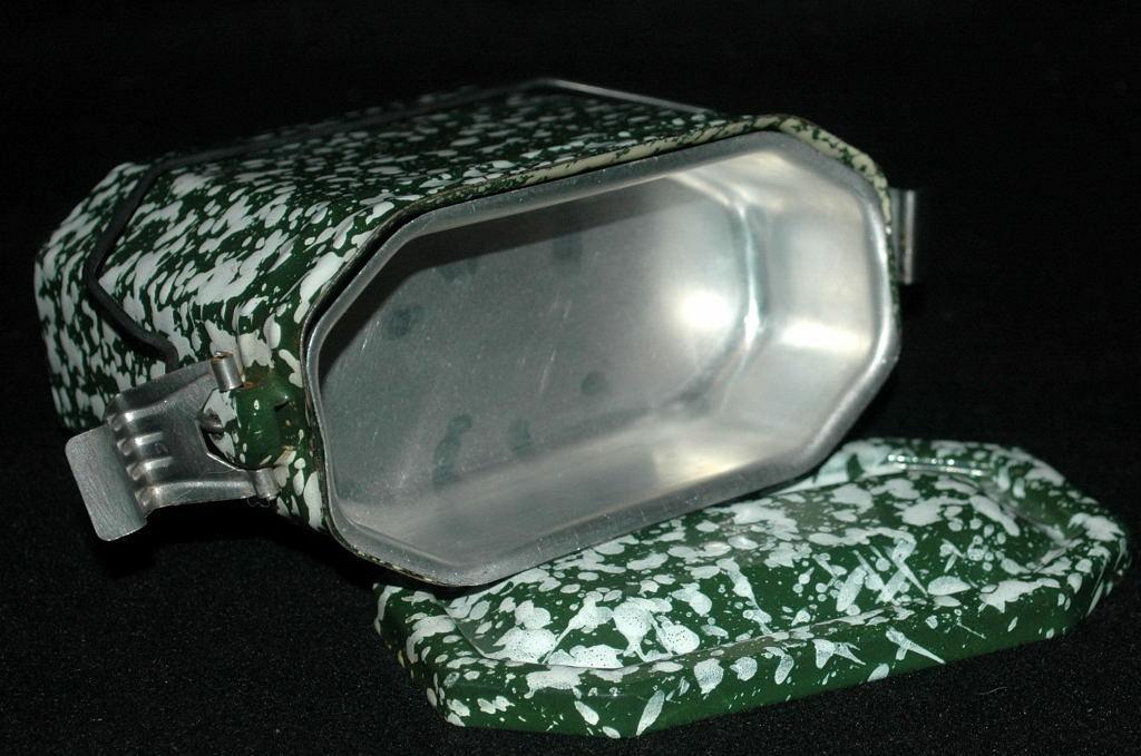 French  Green &  White Graniteware Enamel Lunchbox Pail
