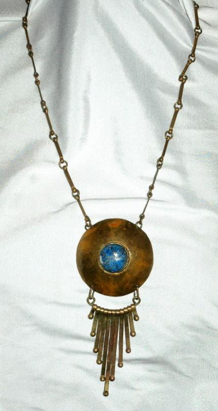 Lapis Lazuli , Tribal, Ethnic Hand Hammered  Brass Necklace Vintage