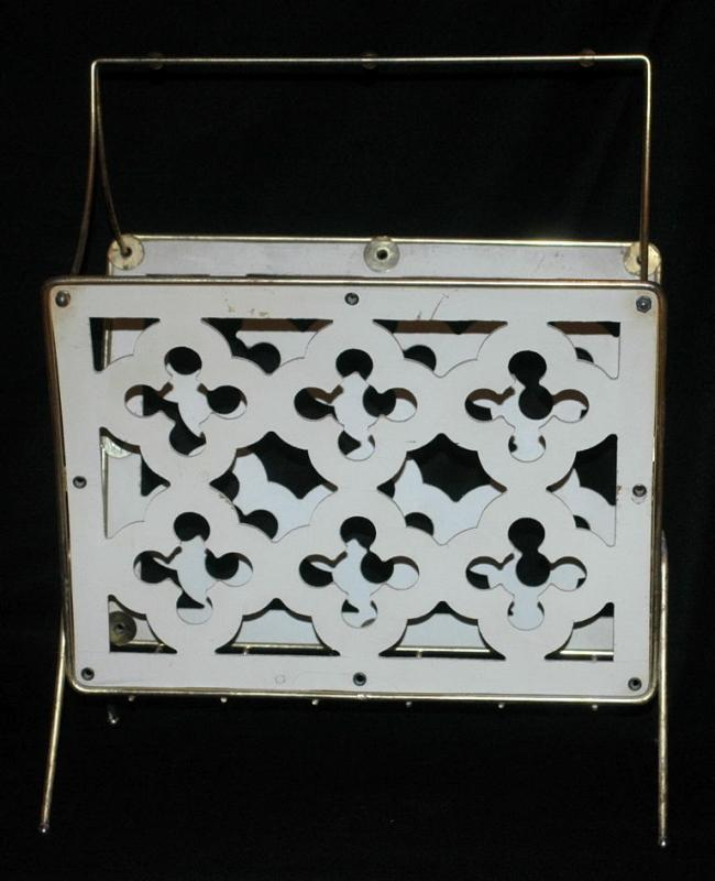 Wooden Bent Wood & Latticework & Brass Magazine Rack -vintage