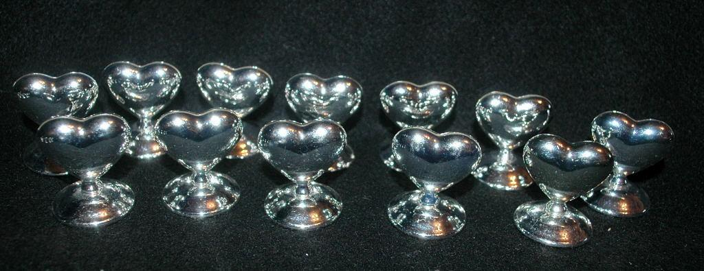 Silver Heart Place Card Holders  x 12