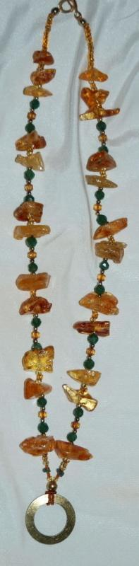 Amazon Basin Chunky Amber & Jadeite Stone Necklace, Hand Crafted  Tribal Style