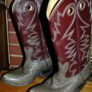 Bowman's Wilson Boot Company CowBoy Boots Hand Made Maroon and Gray