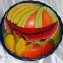 Vintage Mexican  Talavera 3- legged Bowl Cobalt with Watermelon and other fruits