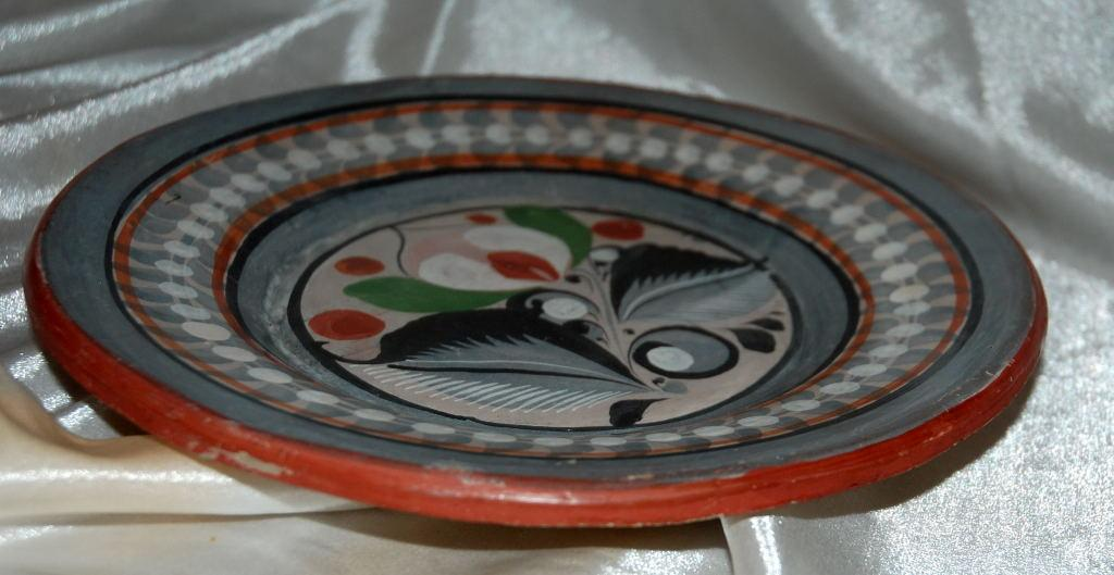 Vintage Mexican Tonala Folk Art Pottery Plate Burnished