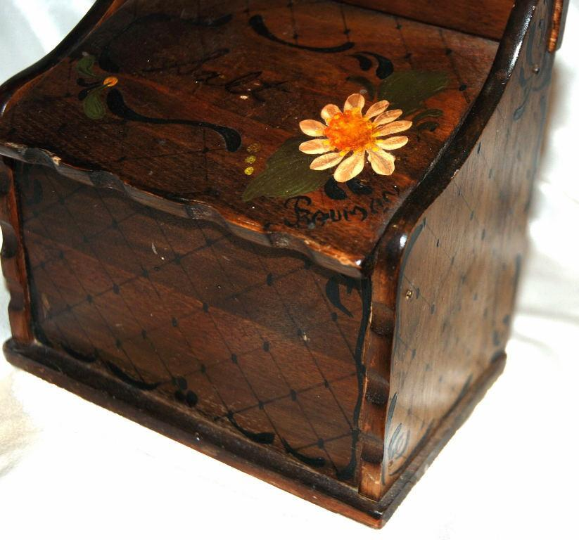 Hand Painted Wooden Wall Mount Salt Box Vintage Signed
