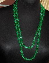 Faceted Green Lucite Beaded  Flapper Length  Necklace  Vintage