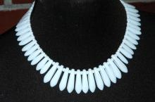 White Milk Glass Bead Necklace Choker Bib Style, Vintage Exotic   Tribal Tooth Design