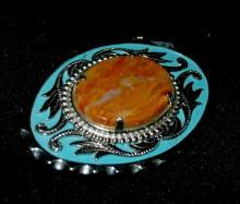Mexican Vaquilla Agate & Silver Belt Buckle with Blue Enameling