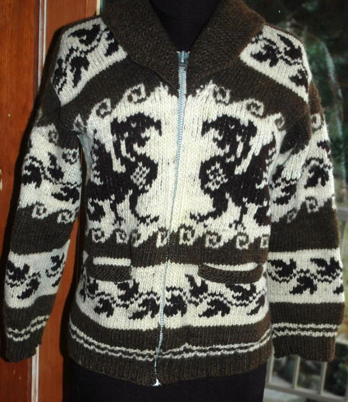 Dragon Cowichan Hand Knit Wool Cardigan Sweater   Vintage