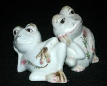 Resting Frogs Porcelain Salt & Pepper Shakers