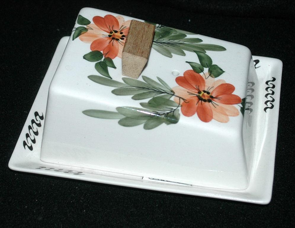Hand Painted Flowers on Porcelain Lidded Cheese Dish Butter Keeper  -with Wood Finial Handle / Mid-Century