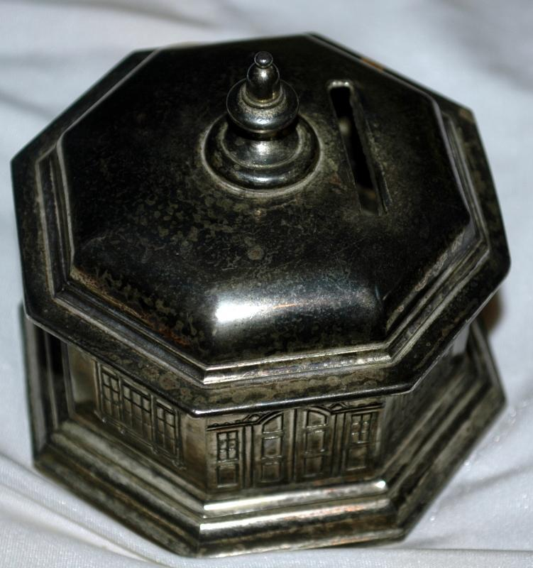 Antique Silverplate Octagon Building Coin Bank / Dome Roof French Window/ Japan