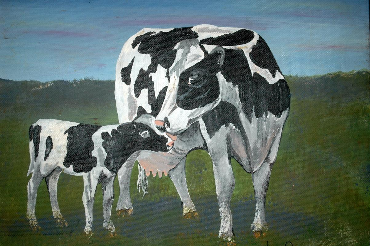 Cow & Calf Oil Painting on Canvas by Karan Collenberg