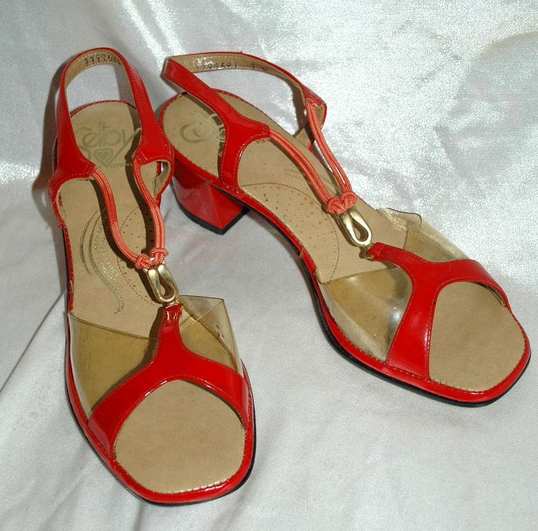 Red Leather  &  See Through Sling Back Mules Selby Fifth Avenue / Heal Sandals