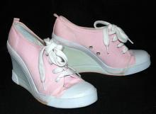 LIGHT PINK CANVAS  FASHION WEDGE SNEAKERS  BY CITY SNEAKS  /size 7