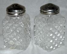 Crystal Salt Pepper Shakers Diamond Pattern, Marked England