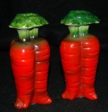 Tall Carrots Ceramic Salt Pepper Shakers, marked Japan