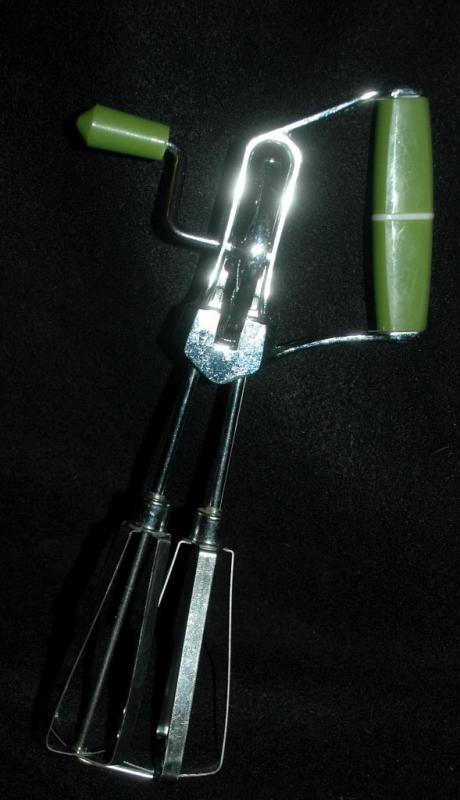 Vintage Hand Egg Beater  Mixer with Green Plastic Handles