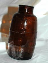 Schmidt -  Brewing Company Vintage Amber Glass Barrel Shape Beer Bottle , Wide Mouth