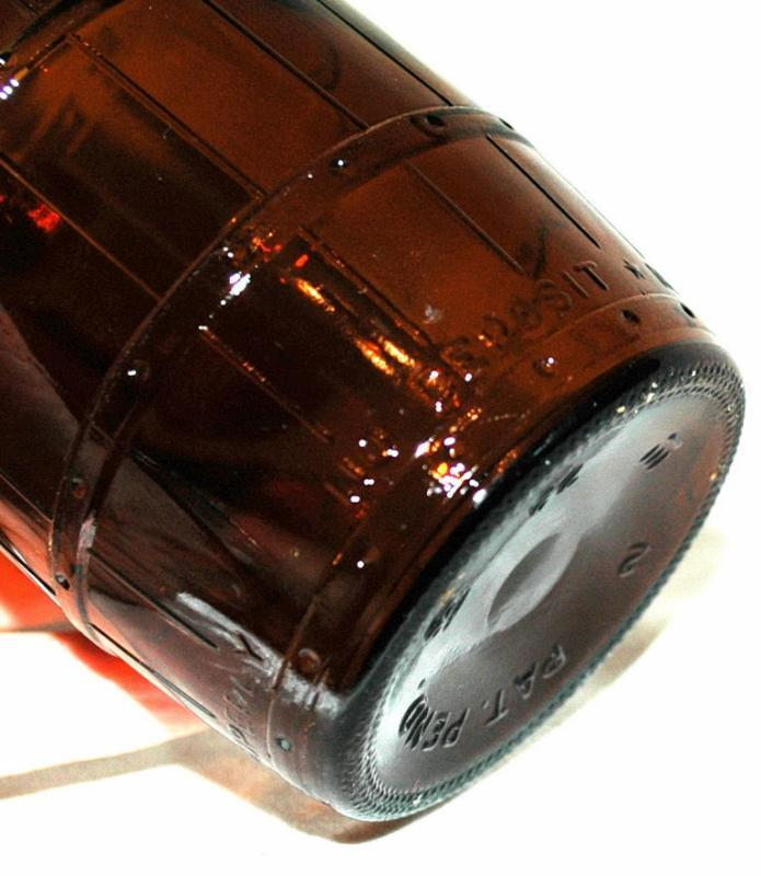 Schmidt -  Brewing Company Vintage Amber Glass Barrel Shape Beer Bottle , Wide Mouth