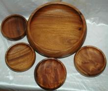 Hawaiian Kamani Wood Turned Salad Bowl 5 pc set
