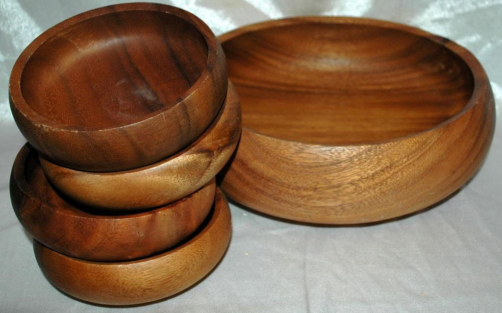 Hawaiian Kamani Wood Turned Salad Bowl 5 pc set