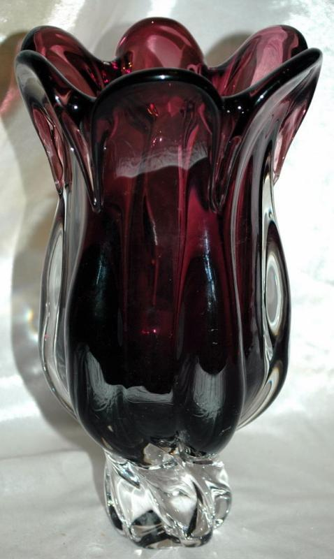 ROYAL GALLERY Crystal glass Mouth Blown Purple/clear CRYSTAL GLASS FLOWER VASE