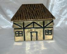 Brass Over Wood Cottage House Shaped Tea Box Caddy  Old English