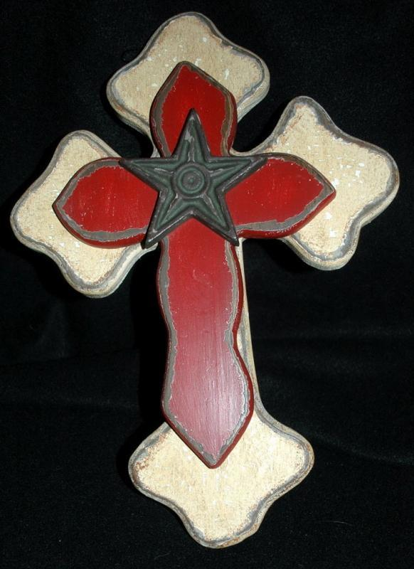 Rustic Wooden Cross,  with Iron Star  Hand painted and distressed.