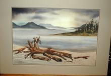 Large Original Watercolor  Painting  Beach Scene