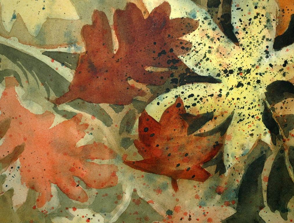 Large Original Watercolor  Painting Abstract Leaves