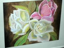 Pastel Painting of Roses, Original Art, Framed behind Glass