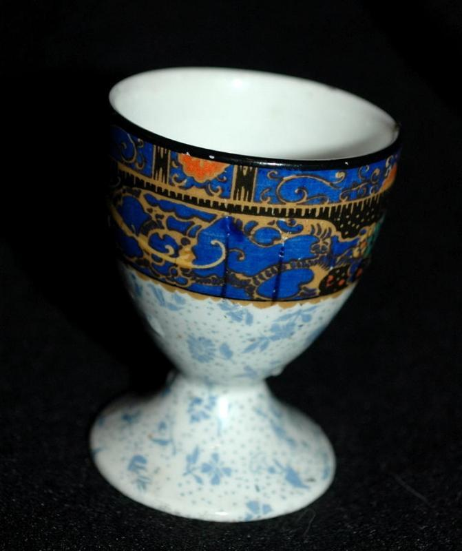 Egg Cup Grimwades Stroke on Trent English Porcelain  Mystical Bird Design