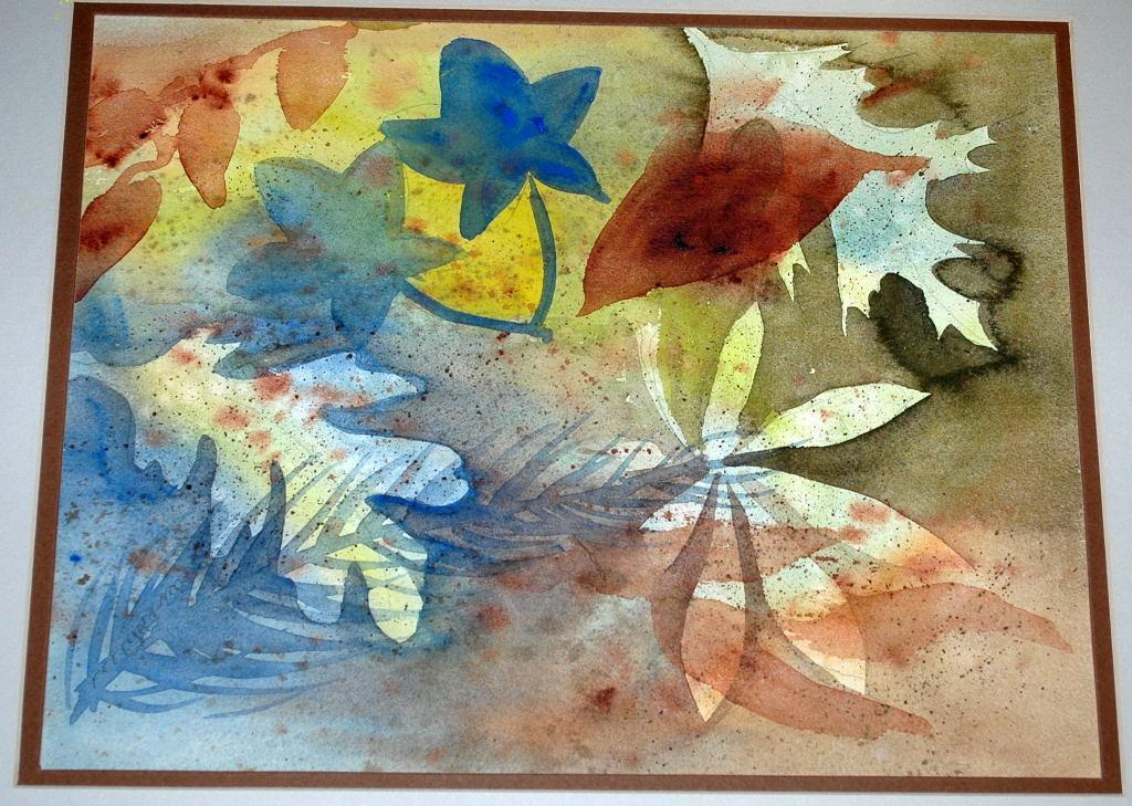 Original Watercolor  Painting Abstract Leaves