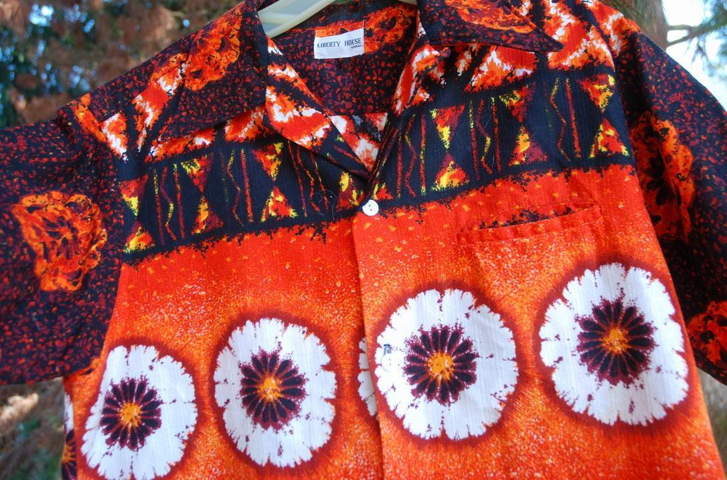 Liberty House Vintage Barkcloth Hawaiian Shirt  .Orange, Black Yellow Sunset colors