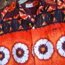 Liberty House Vintage Barkcloth Hawaiian Shirt  .Orange, Black Yellow Sunset colors