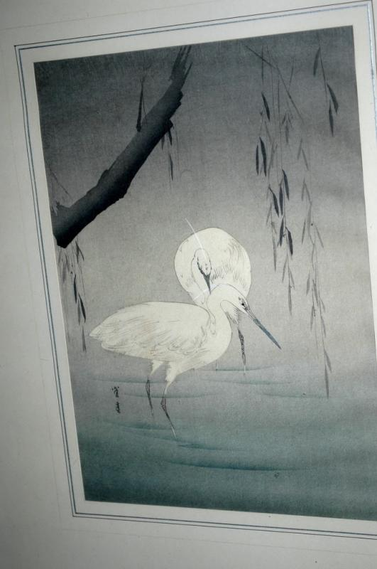 Two Egrets Wading Under a Willow Tree by Watanabe Seitei  Wood -Block