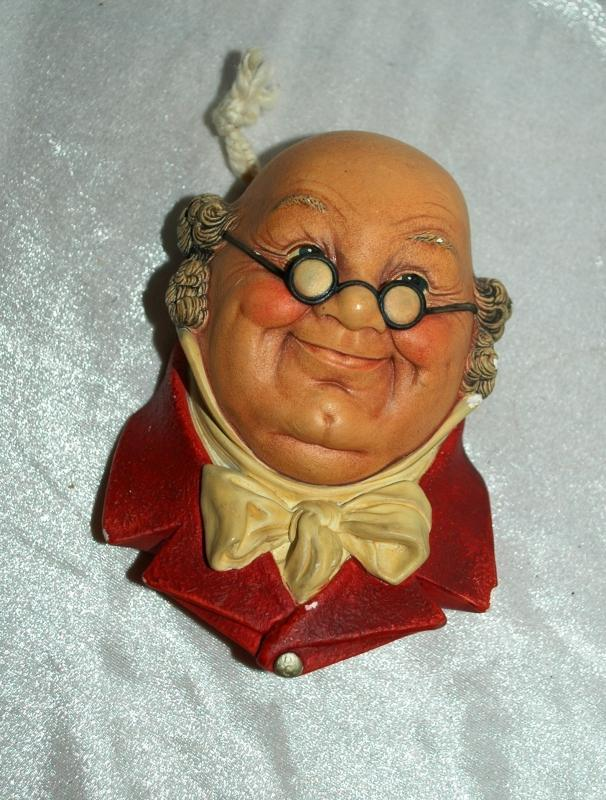 Bossons Mr. Pickwick Head 1964 England Wall Sculpture Plaque Chalkware