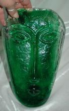 Cast Glass Art Glass Tribal Face Sculpture -Green
