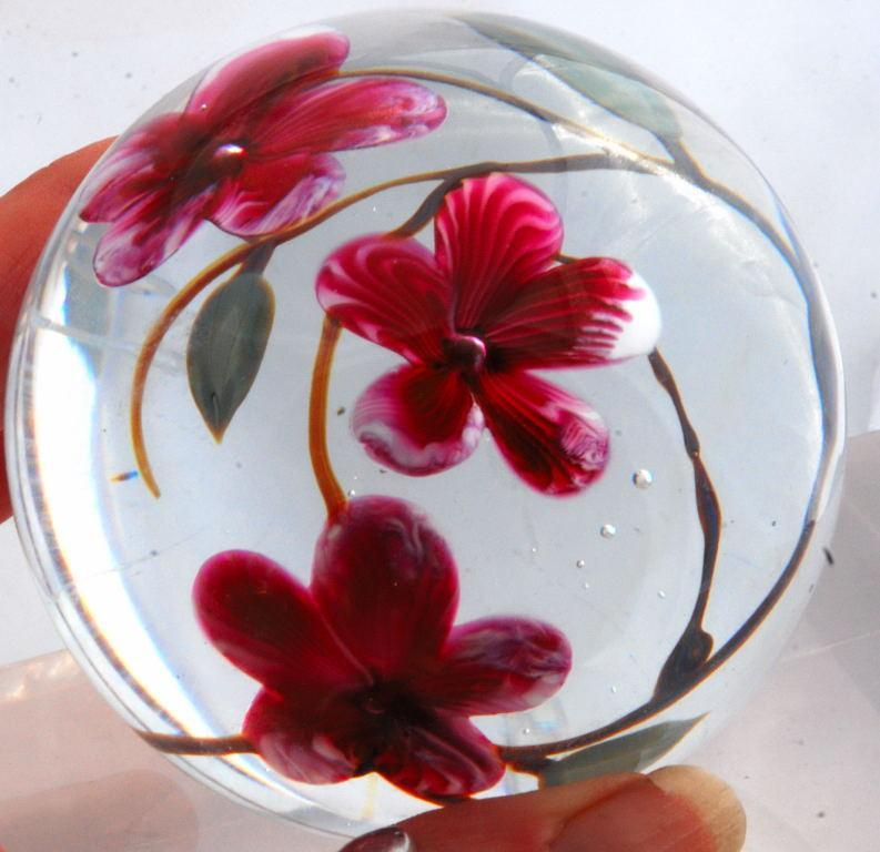 Glass Eye Studio Pink Flowers Paperweight 1985 , signed and numbered