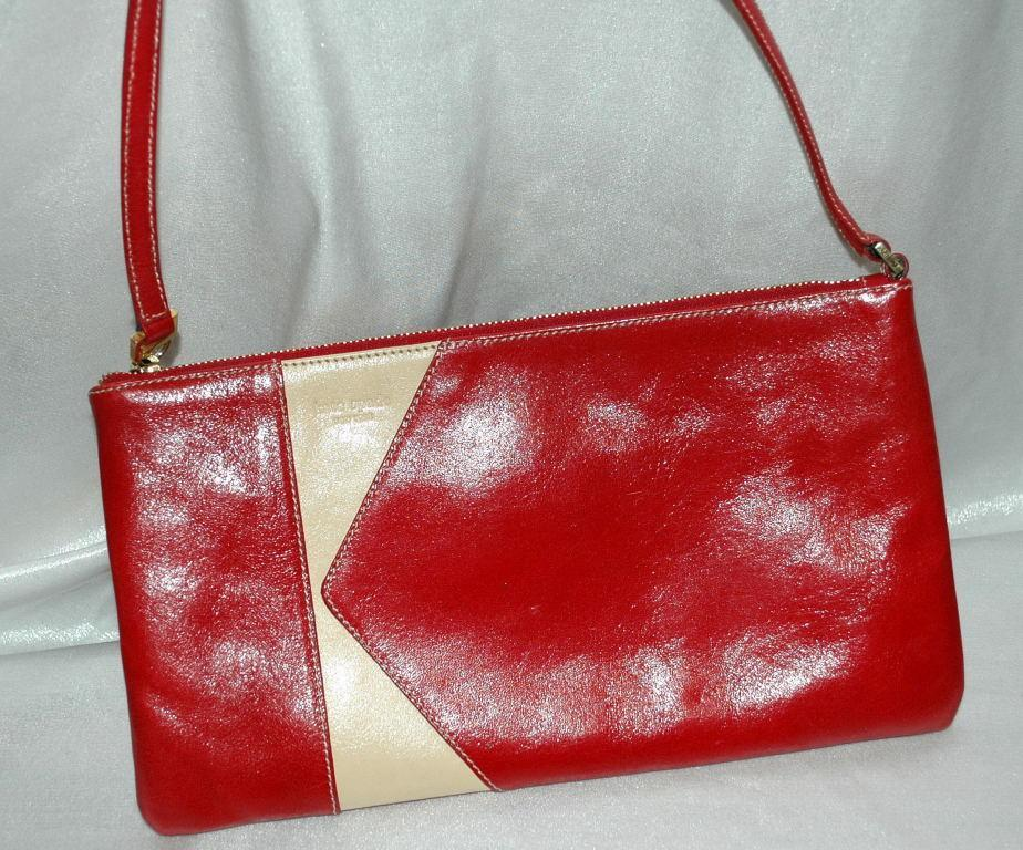 Kate Spade Red White Leather Purse - Vintage