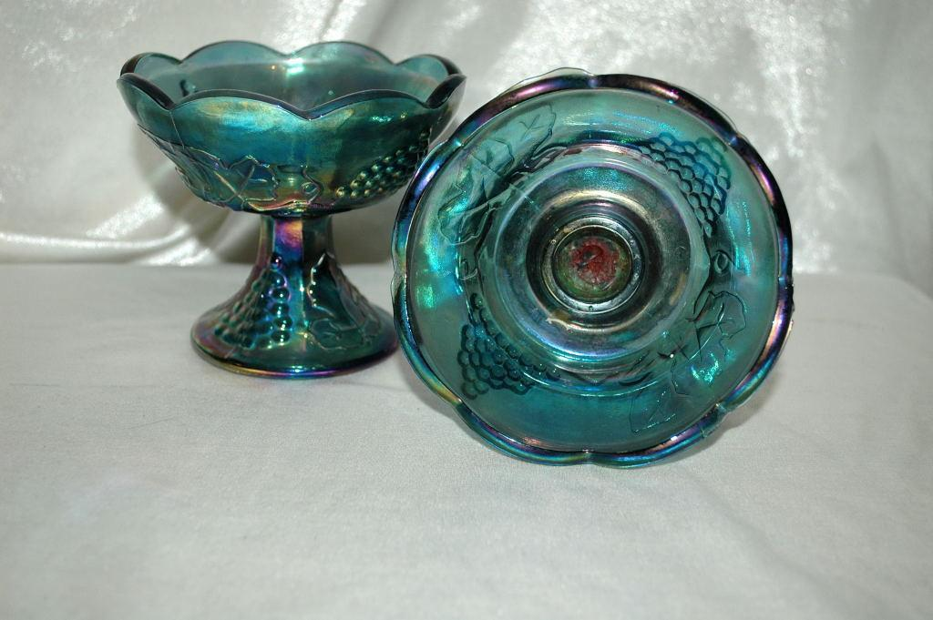 Pair of  Carnival Glass Candle Stick Holders Blue Harvest Grape, Indiana Glass