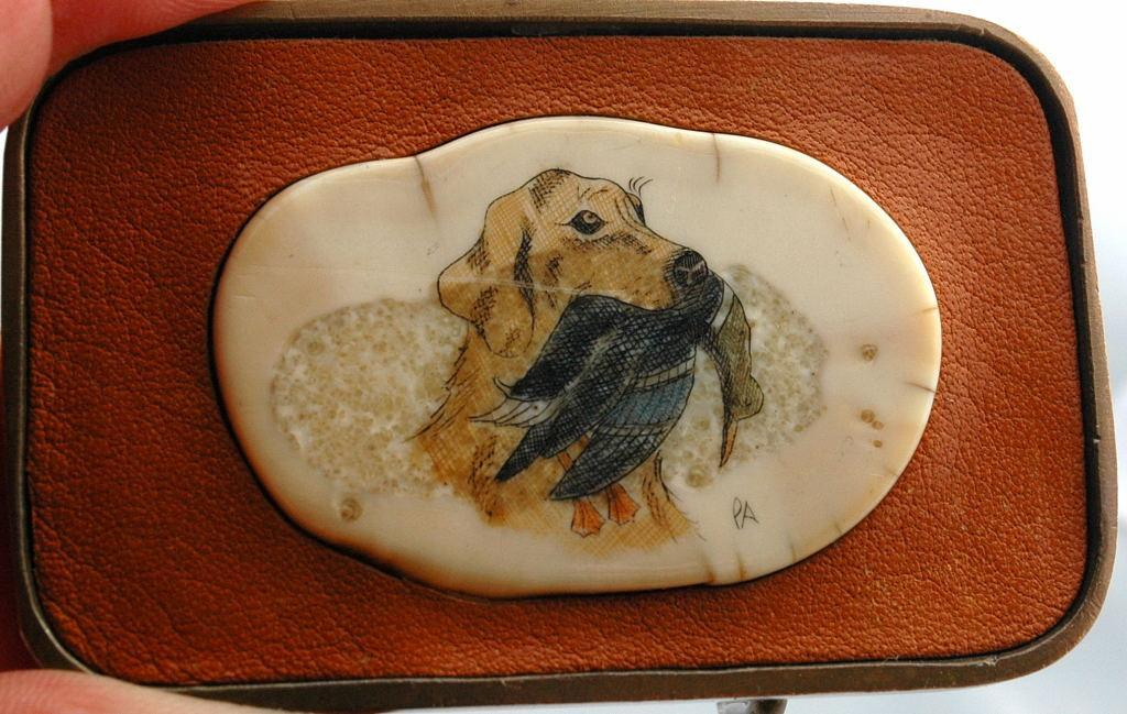 Hunting Dog Fossil Ivory Scrimshaw Belt Buckle, in Leather and Brass , Signed