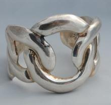 Taxco Mexico Sterling Cuff Bracelet 53 grams  Rhodium Plated