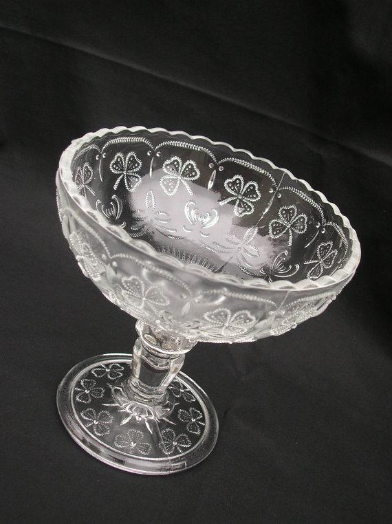 NUUTAJARVI Crystal Finland Compote/Fruit Bowl ~ Clover