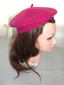 Magenta Wool Tam Hat from the Czech Republic