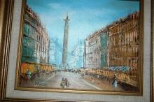 Landmark European Street Scene Oil Painting, Signed and Framed