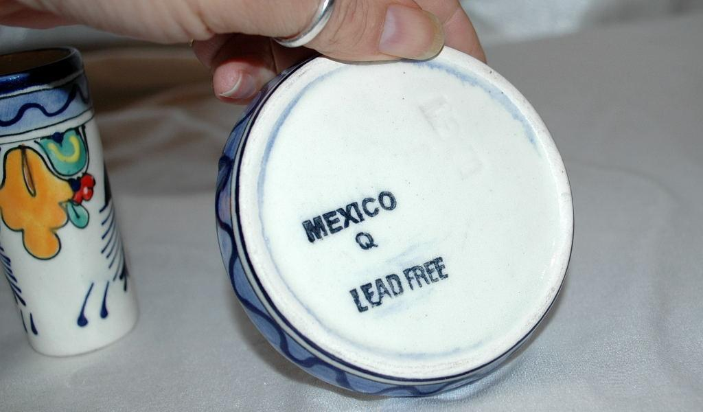 MEXICAN TALAVERA TEQUILA & SALT  SHOT SET  lead free