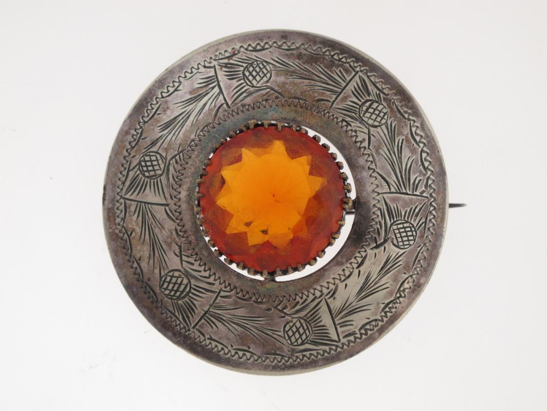 Scottish . Silver Thistle  and Amber Topaz  Brooch Pin